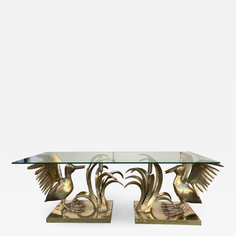 Christian Techoueyres Bronze Pelican and Reed Coffee Table by Christian Techoueyres France 1970s