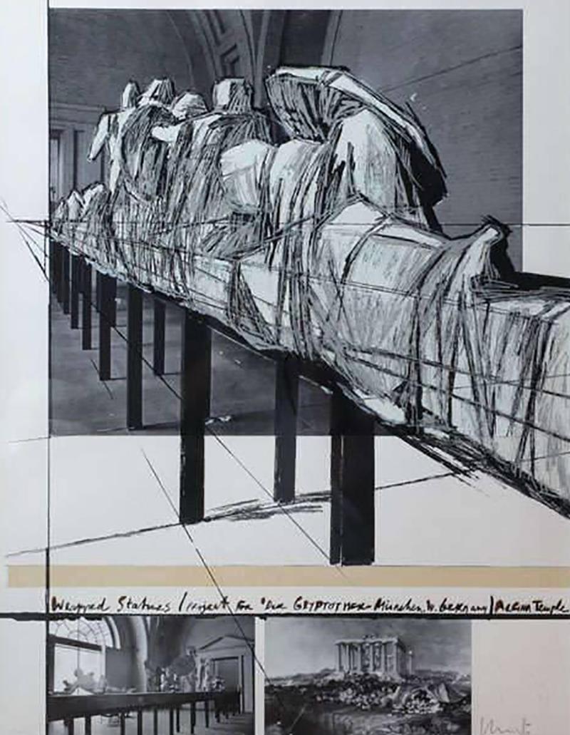 Christo Wrapped Statues Silkscreen Photo Collage circa 1988