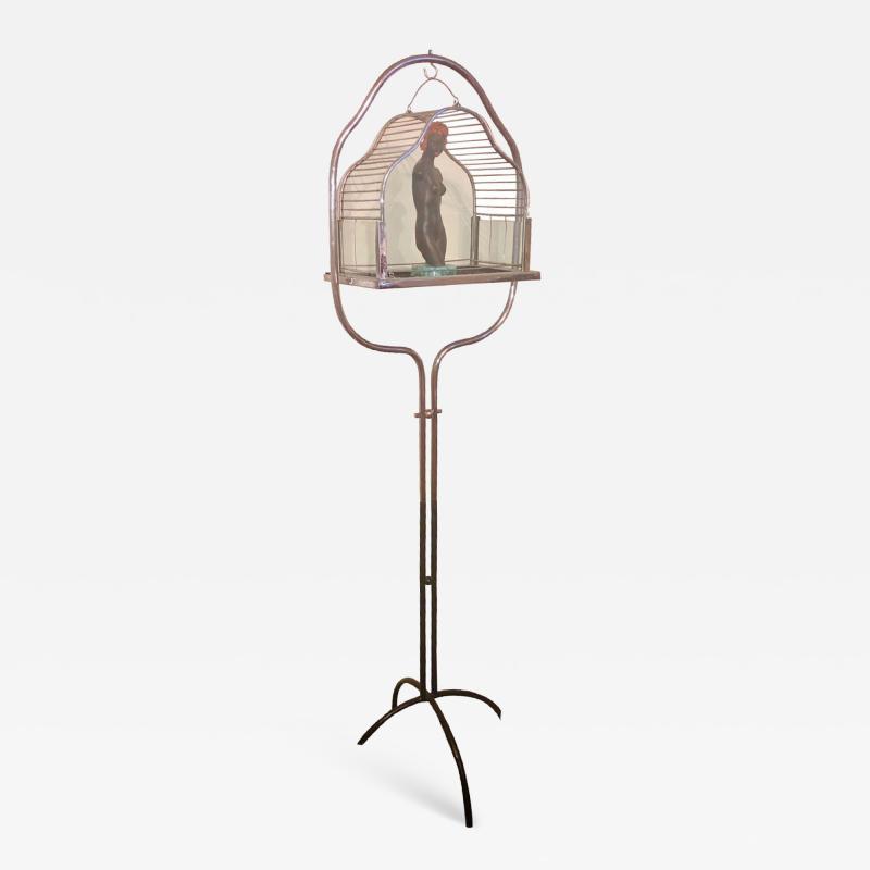 Chrome Art Deco Bird Cage on Stand