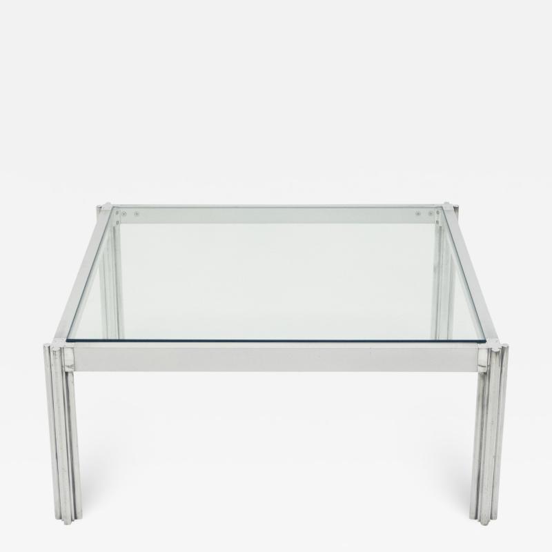 Chrome aluminium George Ciancimino square coffee table 1975