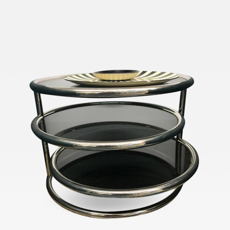 Chrome smoked glass 3 tier end table