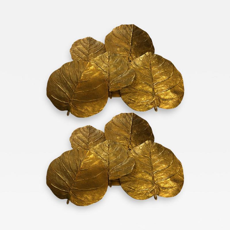 Chrystiane Charles Pair of Gilt Bronze Leaf Sconces by Chrystiane Maison
