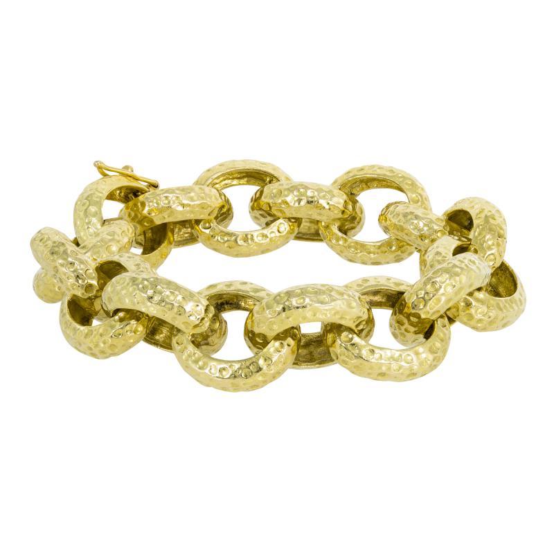 Chunky gold hammered bracelet