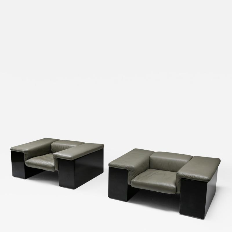 Cini Boeri Post modern Cini Boeri Brigadier Lounge Chairs in Elephant Grey Leather