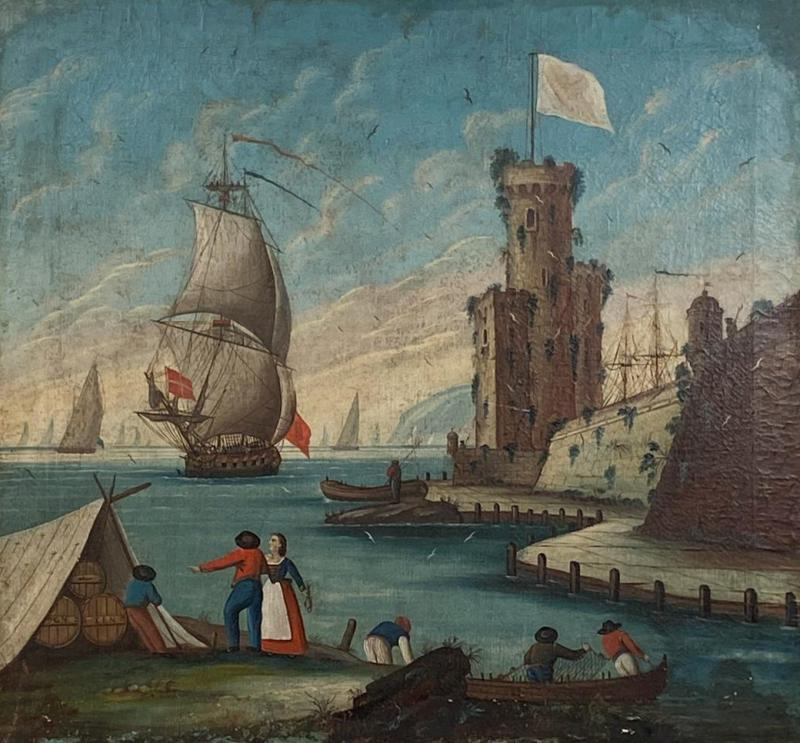 Circa 1600 View of a Harbor in Large Frame Spain