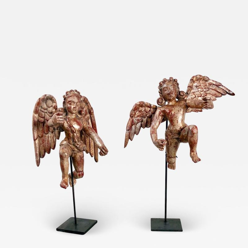 Circa 1750 Silver Gilt Angels India A Pair