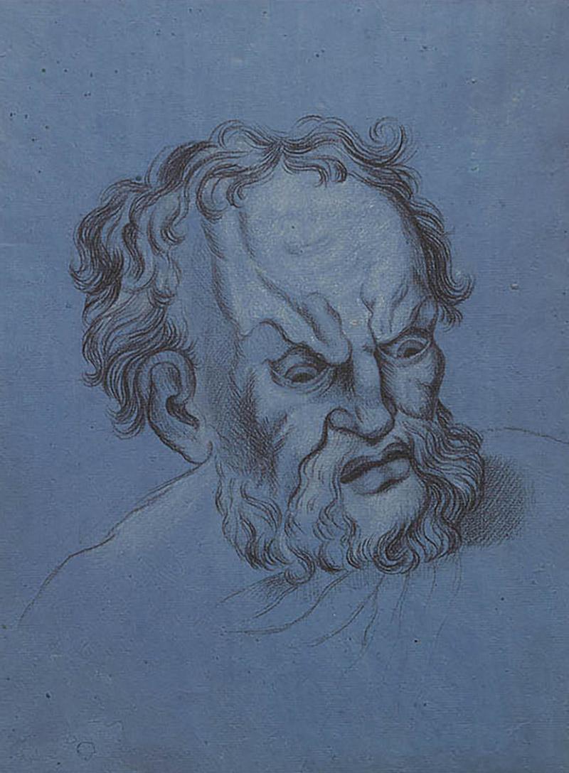 Circa 1800 Baroque Drawing of An Older Man Italy