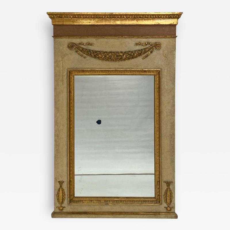 Circa 1830 Large Neoclassical Painted and Giltwood Mirror