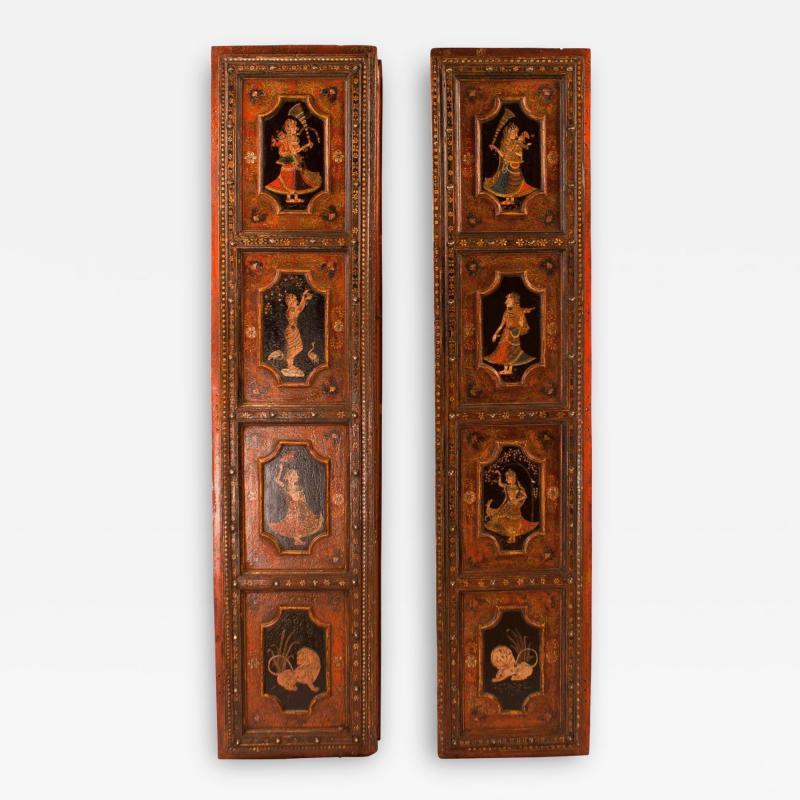 Circa 1830 Painted Indian Palace Doors A Pair