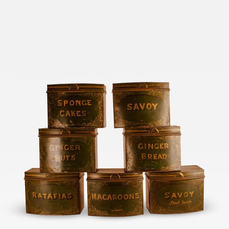 Circa 1870 English Tole Bakery Tins Set of 7