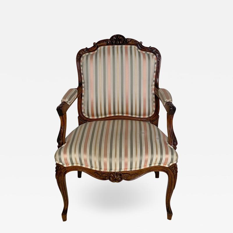 Circa 1870 Louis XV Style Walnut Open Armchair France