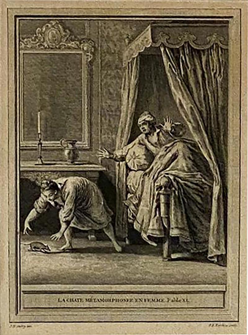 Circa 18th Century La Chate Metamorphosee En Femme Engraving France