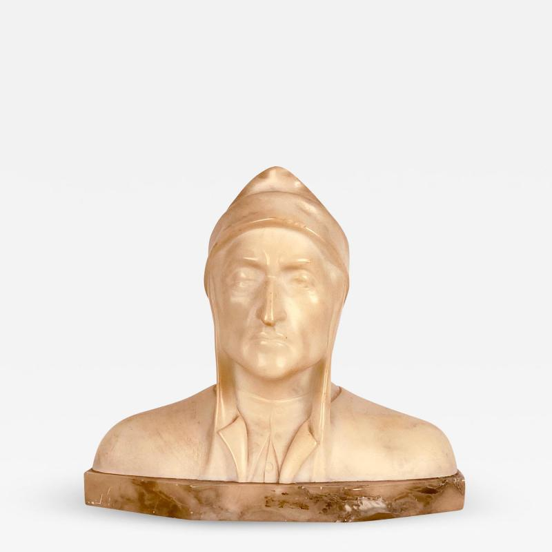 Circa 1900 Alabaster and Marble Bust of Dante