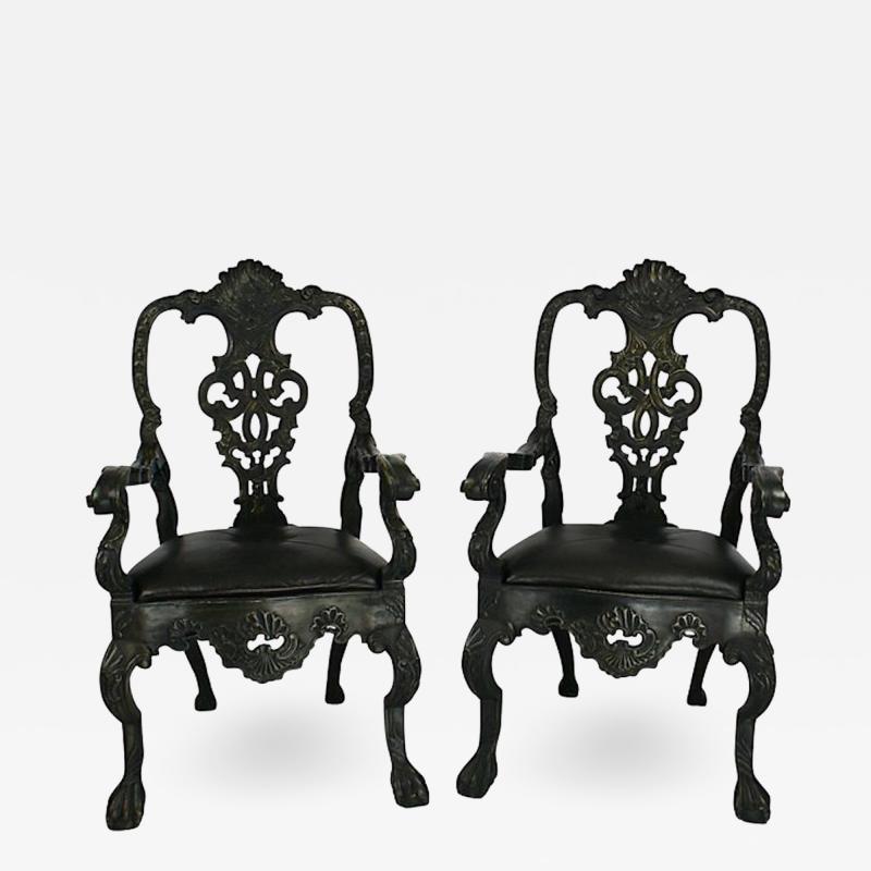 Circa 1900 Baroque Revival Green Armchairs Portugal A Pair