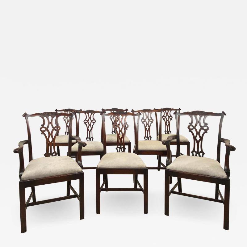 Circa 1900 Set of 8 Chippendale Style Dining Chairs England