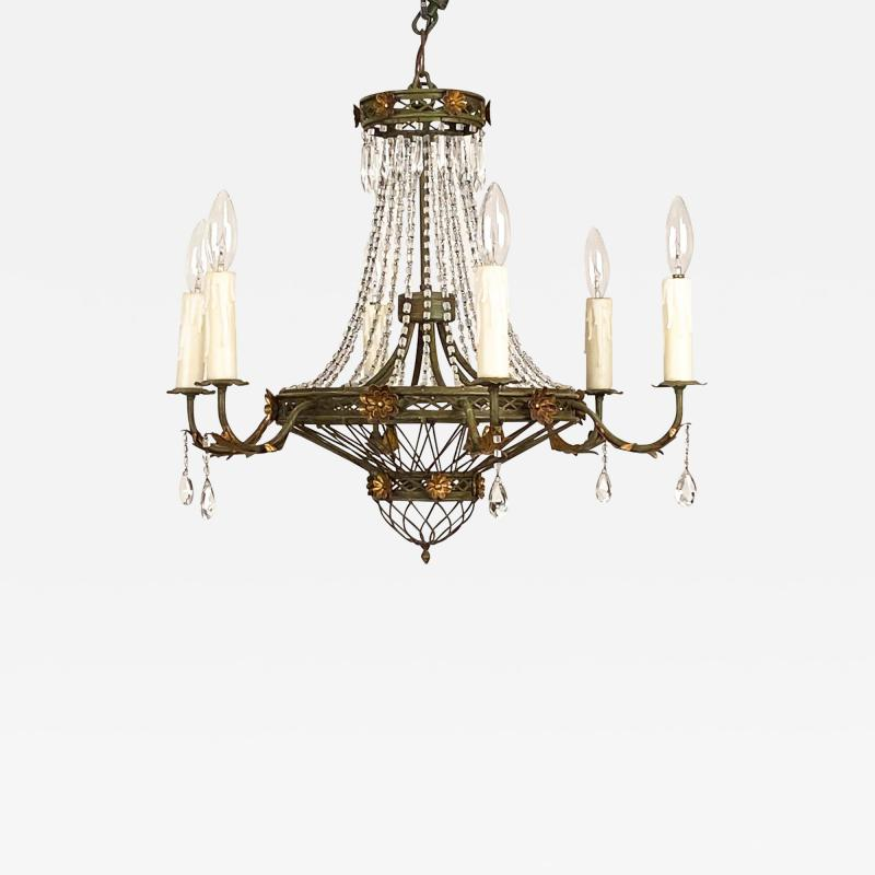 Circa 1900 Tole and Gilt Pendant Chandelier Italy