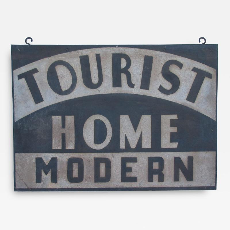 Circa 1920 Double Sided Tourist Home Modern Sign