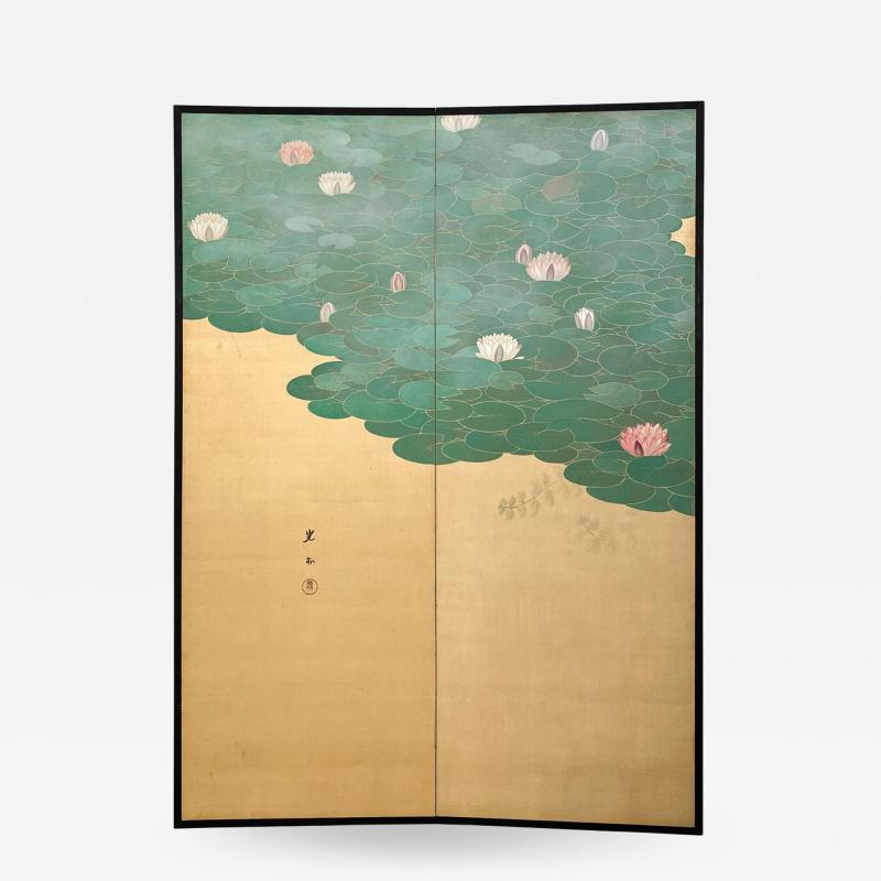 Circa 1920 Taisho Period 2 Panel Screen Japan