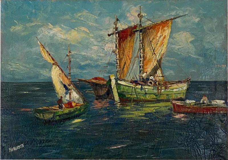 Circa 1950 Trade Ships Oil on Canvas Italy