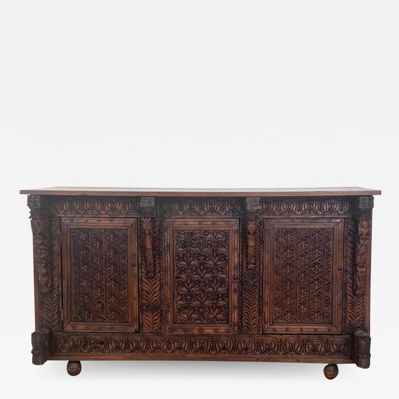 Circa 19th Century Himalayan Carved Cabinet