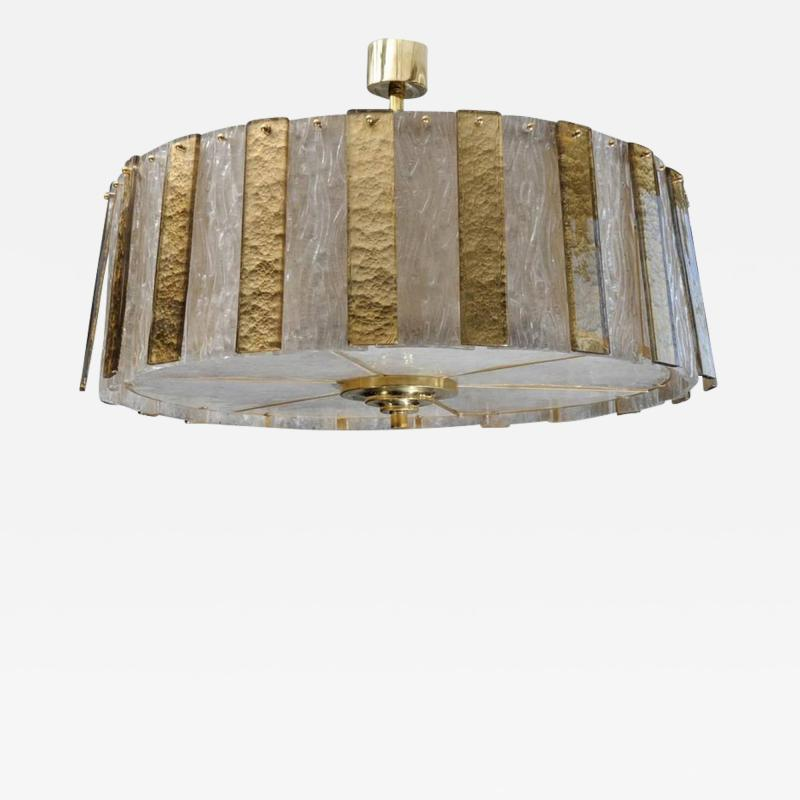 Circular Brass Chandelier with Murano Glass Panels