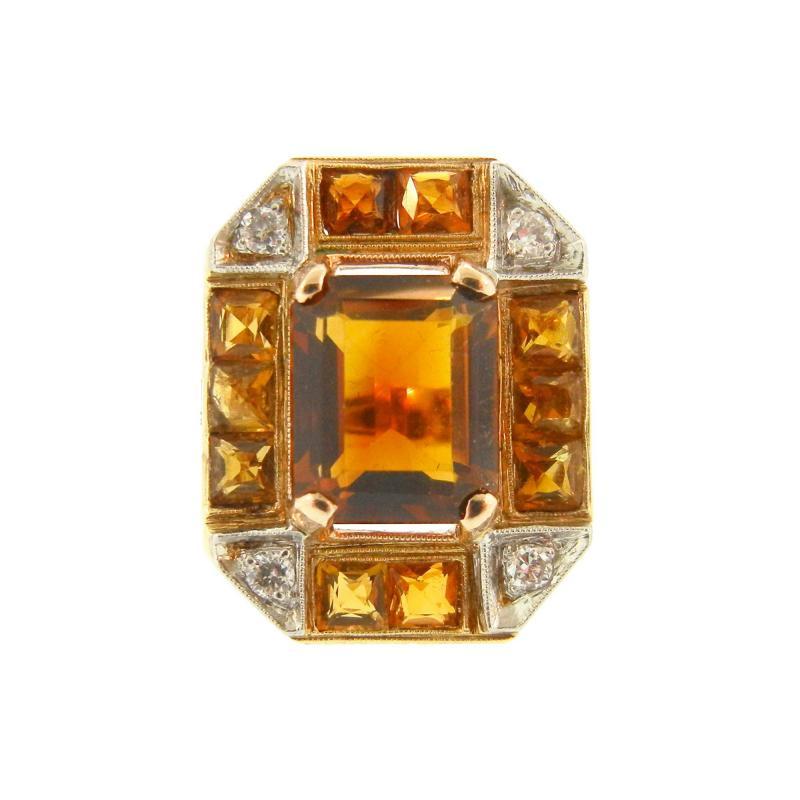 Citrine and Diamond Gold Ring
