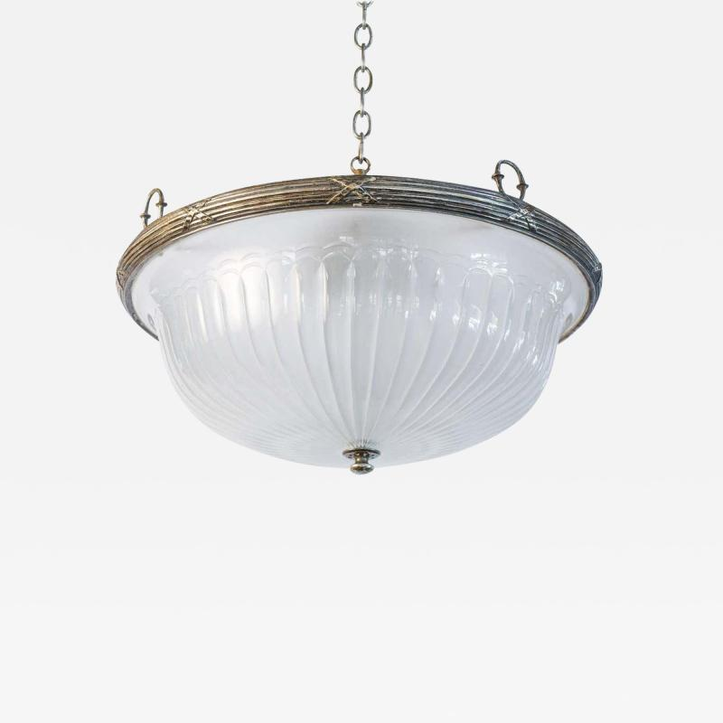 Classic French Frosted Glass and Silver Plated Pendant of Grand Size