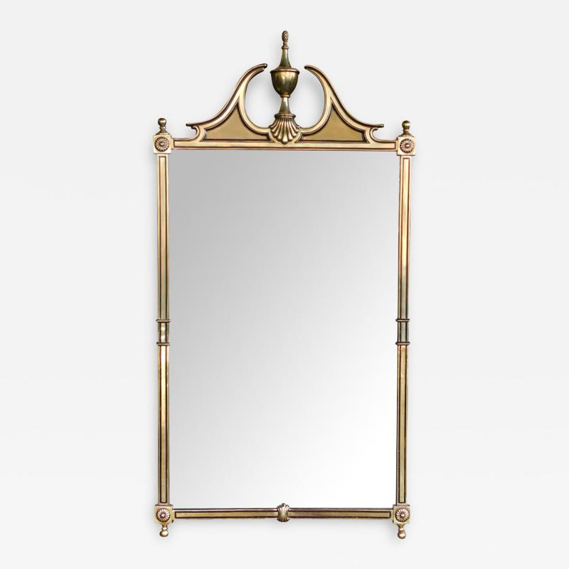 Classically inspired Chippendale Style Brass Mirror with Broken Arch Pediment