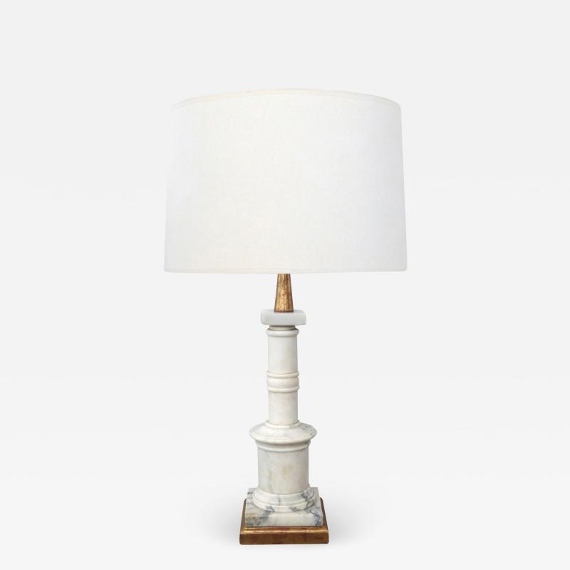 Classically inspired Italian 1950s Carrara Marble Columnar Lamp