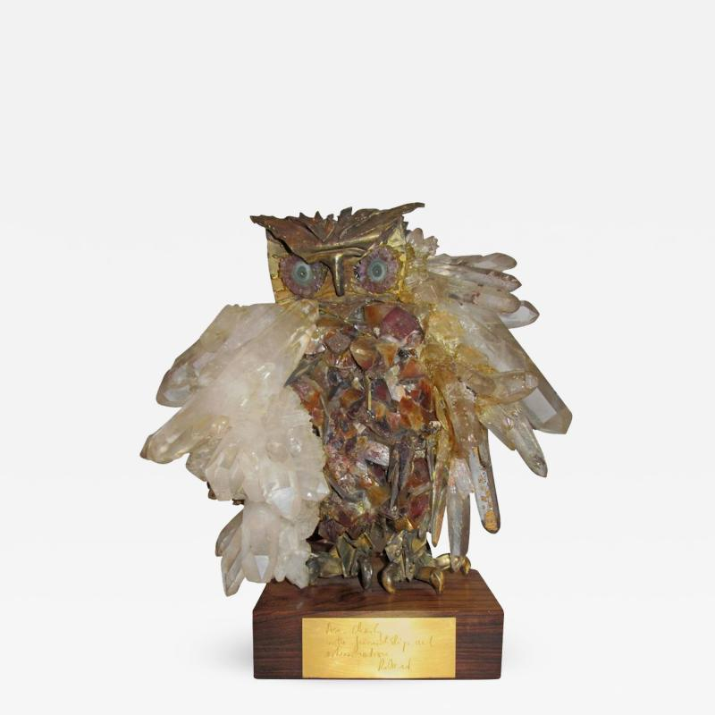 Claude Barbat Brutalist Owl Sculpture Attributed to French Sculptor Claude Barbat