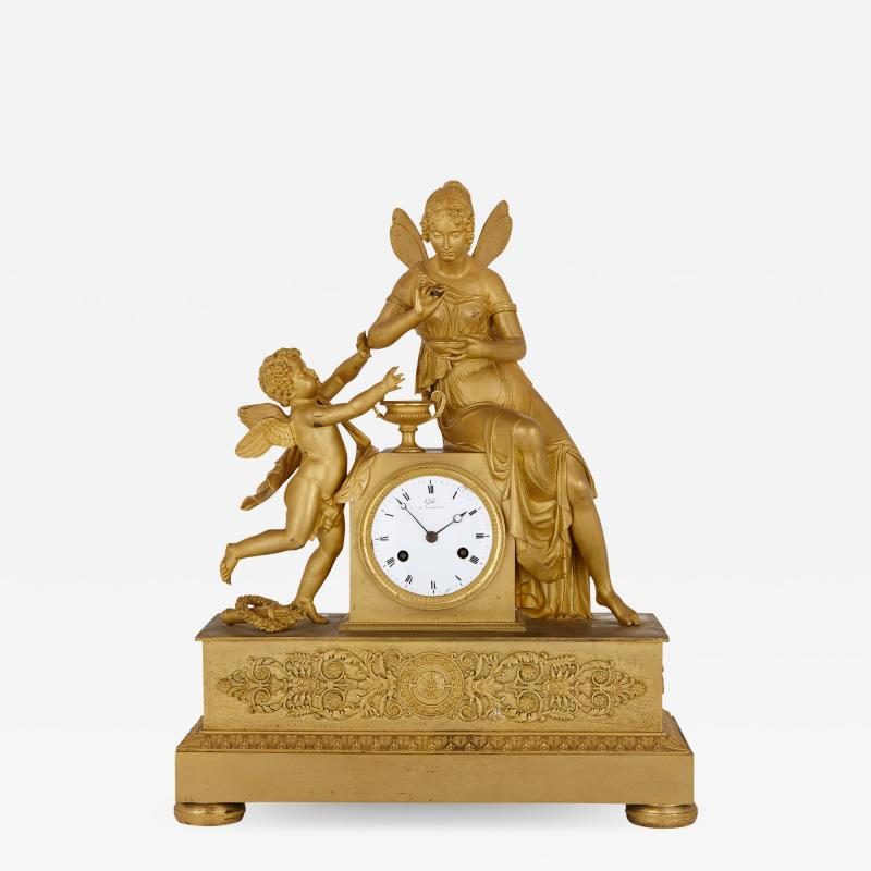 Claude Galle Empire period gilt bronze mantel clock by Galle