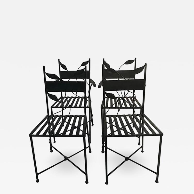 Claude Lalanne Outstanding Set of Outdoor Iron Garden Chairs in the manner of Claude Lalanne