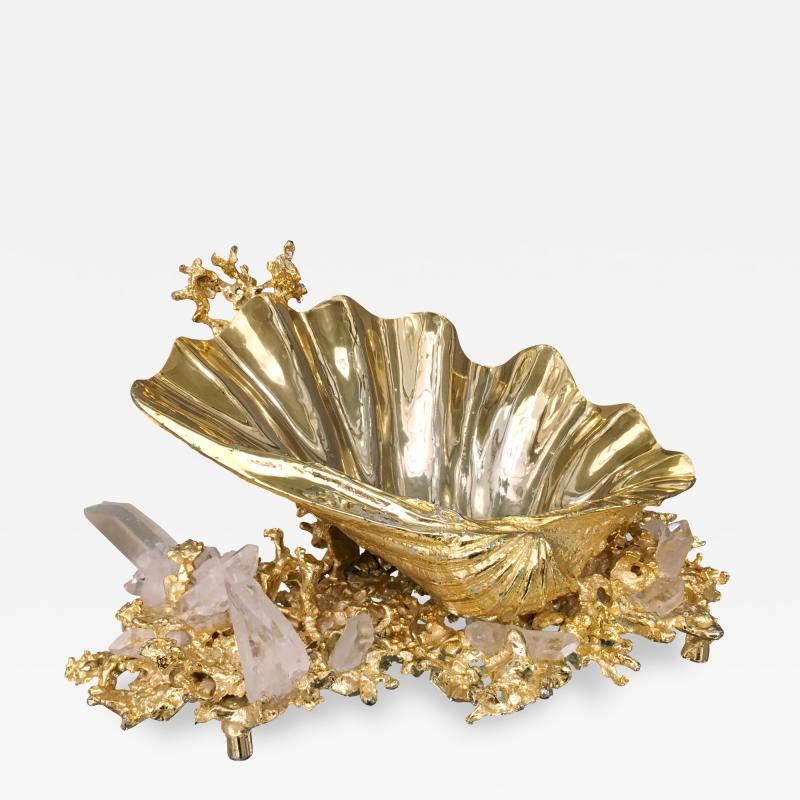 Claude Victor Boeltz Baguier in gilded bronze and rock crystal Claude Victor Boeltz France 1970