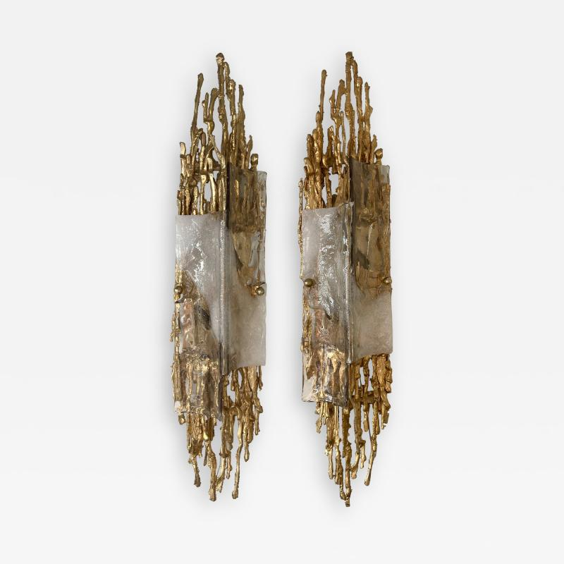 Claude Victor Boeltz Pair of Gilt Bronze Murano Glass Sconces by Claude Victor Boeltz France 1970s