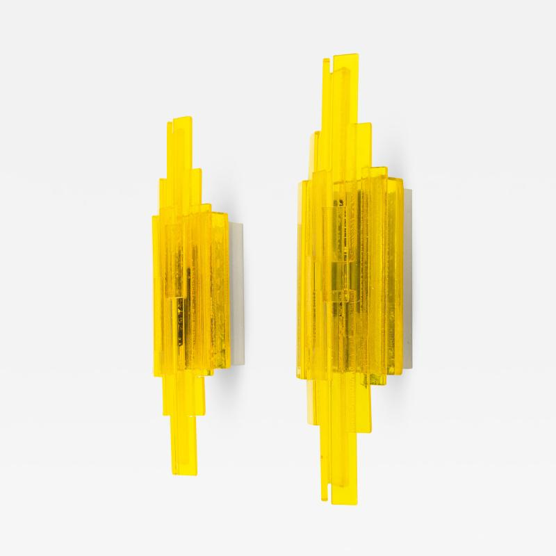 Claus Bolby Pair of yellow acrylic wall lamps by Claus Bolby for Cebo Industri 1960s