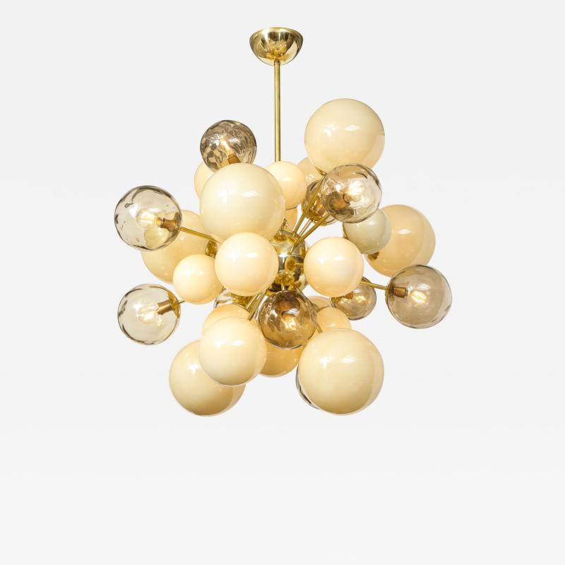 Clear Smoked and Opaque Ivory Murano Glass and Brass Sputnik Chandelier Italy