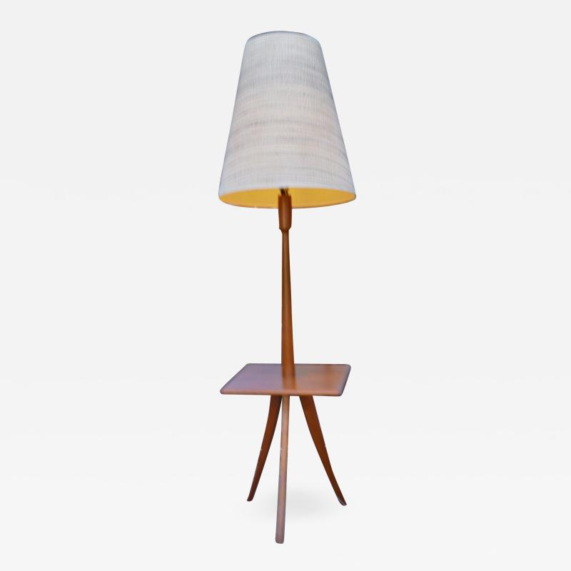 Clever Teak Tripod Floor Lamp w Built In Table Hot Shade