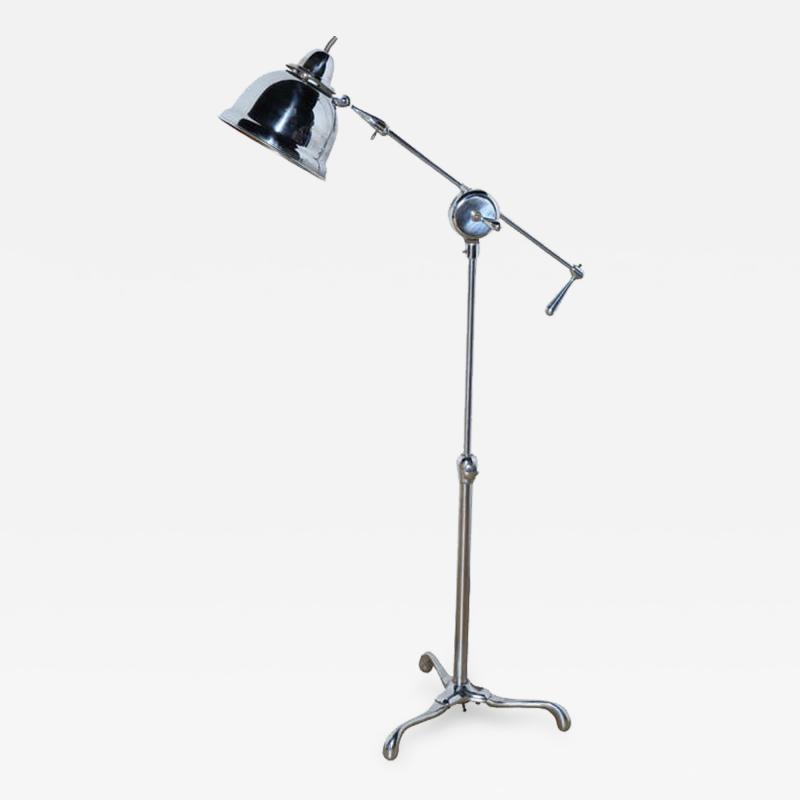 Club Health Products Adjustable Nickel Floor Lamp with Copper Lined Shade 1930s