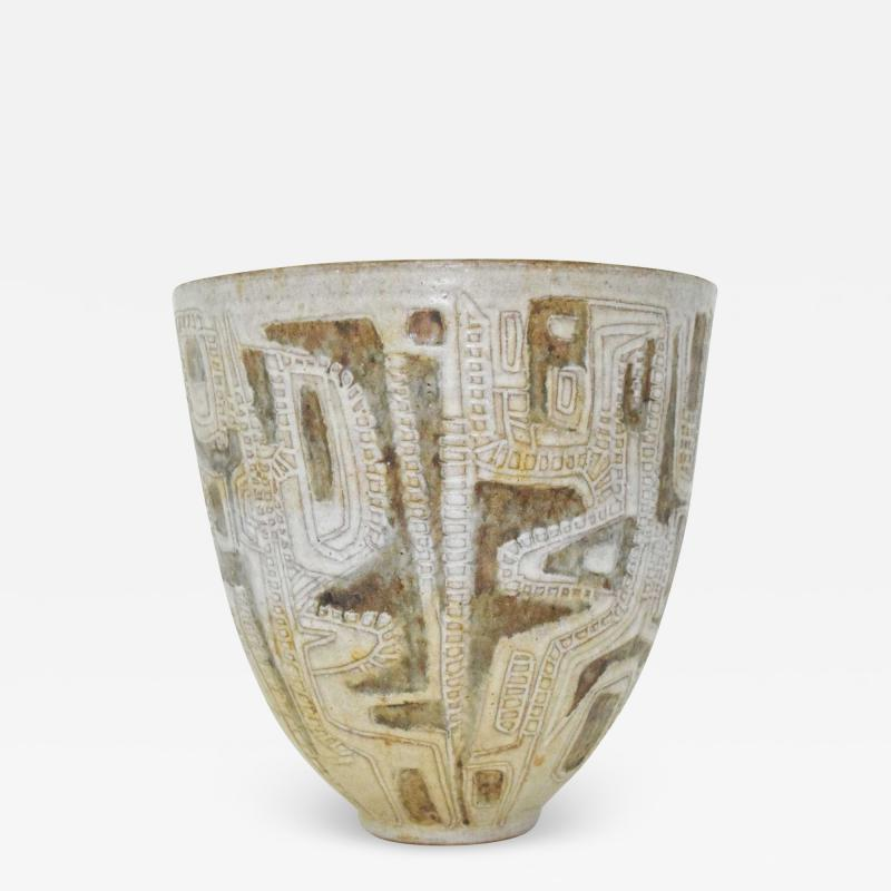 Clyde Burt Clyde Burt Ceramic Vase or Vessel with Sgraffito