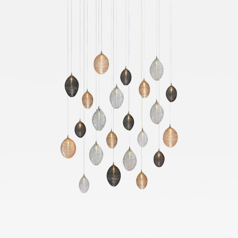 Cocoon 22 Blown Glass Pendant Dining Room Chandelier by Shakuff