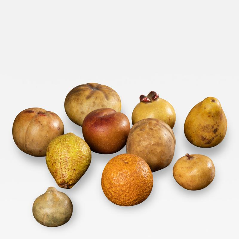 Collection of 18th century marble fruits