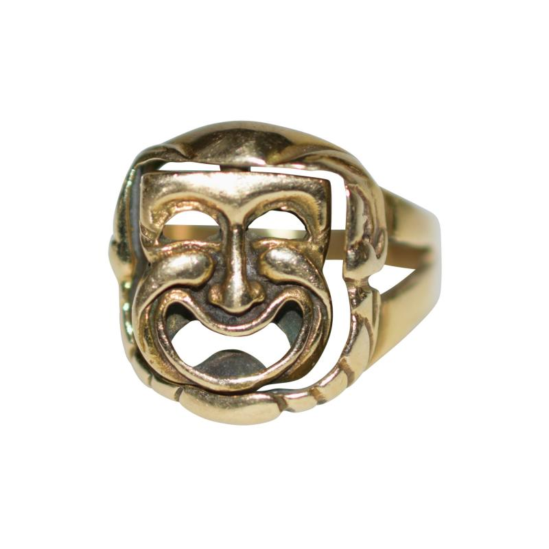 Comedy and Tragedy Spinning Articulated 14K Gold Ring