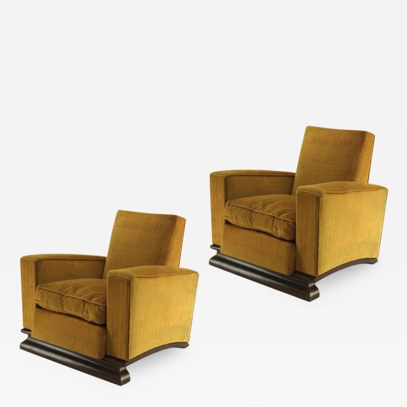 Comfy pair of French vintage Art Deco club chairs