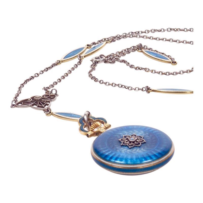 Concord Watch Co Diamond Enamel Pendant Watch 1915
