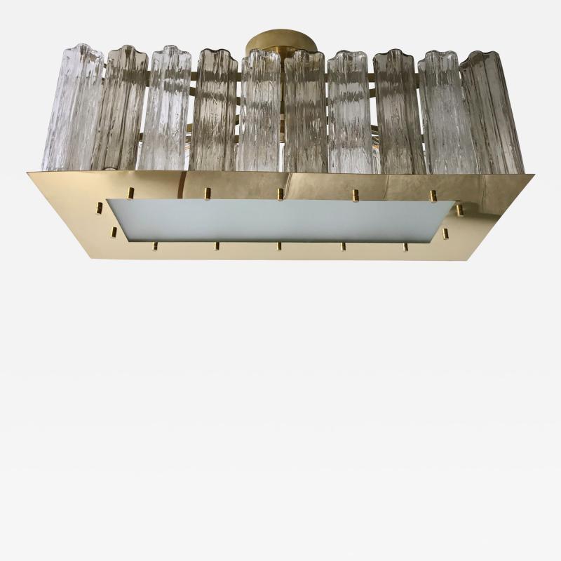 Contemporary Art Deco Style Italian Crystal Smoked Murano Glass Flush Chandelier