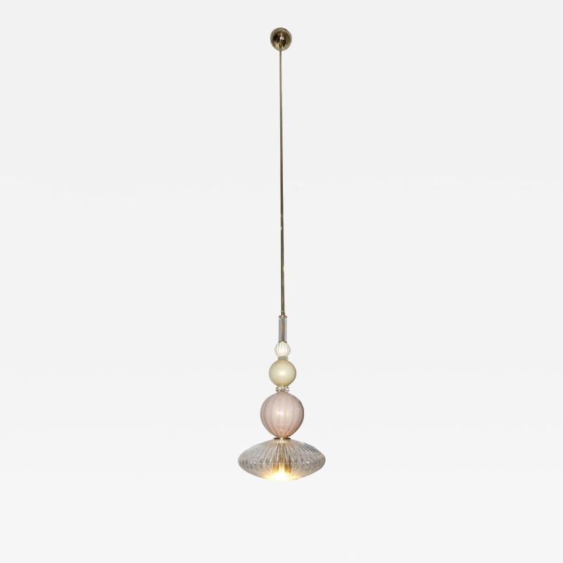 Contemporary Bespoke Italian Crystal Pink Gold Cream Murano Glass Pendant Light