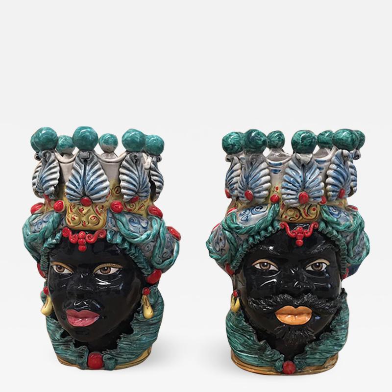 Contemporary Black Terracotta Pair of Sicilian Vases