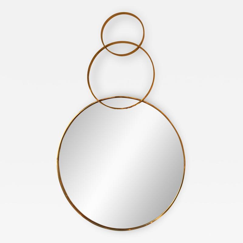 Contemporary Brass Mirror 3 Circle Italy
