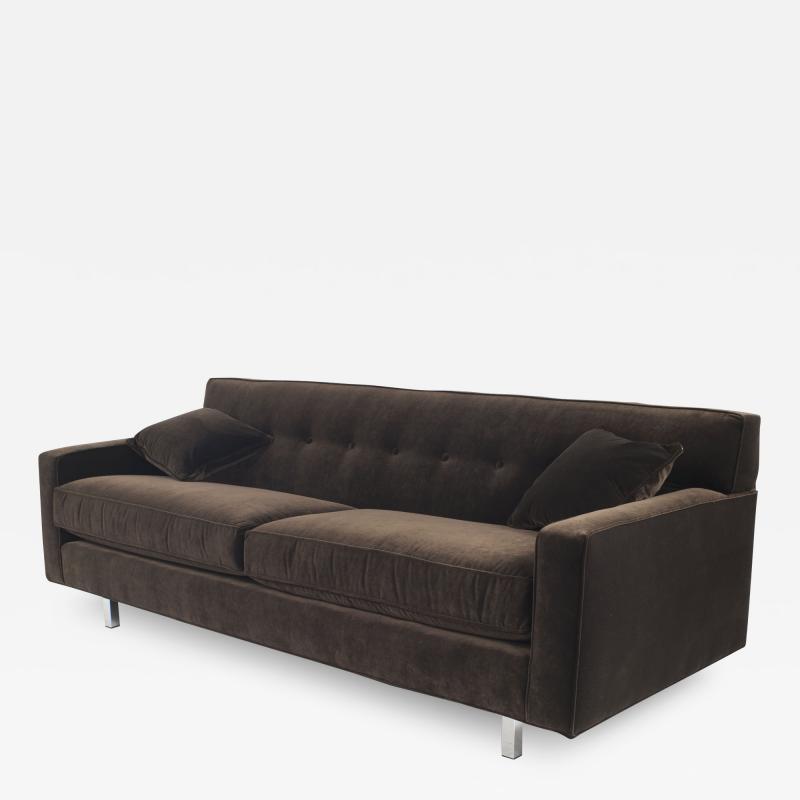 Contemporary Brown Velvet Sofa