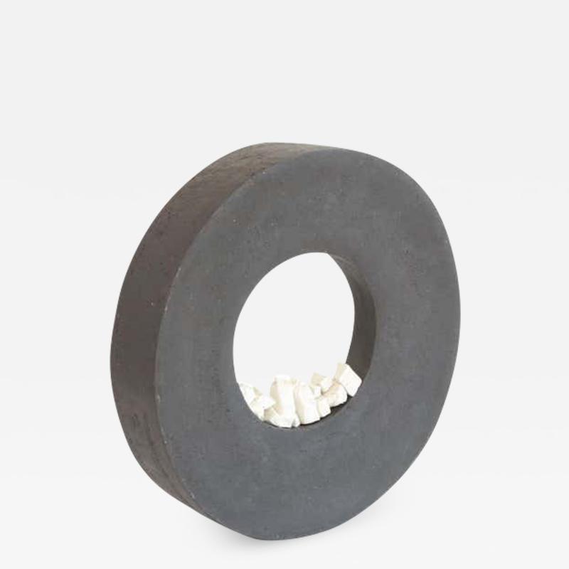 Contemporary Ceramic Sculpture Anneau Noir Caillou
